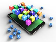 3d green. 3d illustration of mobile phone over white background with binary cubes and icons Royalty Free Stock Photo