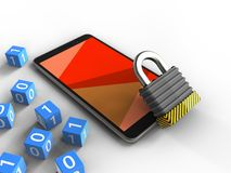 3d red. 3d illustration of mobile phone over white background with binary cubes and iron lock Stock Photos