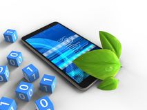 3d cyber. 3d illustration of mobile phone over white background with binary cubes and leaf Royalty Free Stock Image