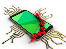 3d arrow chart. 3d illustration of mobile phone over white background with electronic circuit and arrow chart Stock Photo