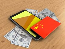 3d banknotes. 3d illustration of mobile phone over wooden background with banknotes and china flag Stock Photo