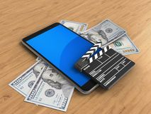 3d mobile phone. 3d illustration of mobile phone over wooden background with banknotes and cinema clap Stock Photos