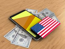 3d yellow. 3d illustration of mobile phone over wooden background with banknotes and USA flag Stock Image