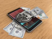 3d banknotes. 3d illustration of mobile phone over wooden background with banknotes and vault door Stock Illustration
