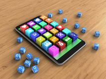 3d application icons. 3d illustration of mobile phone over wooden background with binary cubes and application icons Royalty Free Stock Images