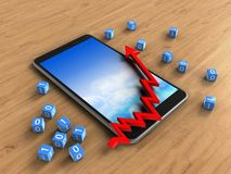 3d mobile. 3d illustration of mobile phone over wooden background with binary cubes and arrow chart Stock Photography
