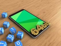 3d binary cubes. 3d illustration of mobile phone over wooden background with binary cubes and 64 bit sign Stock Images