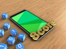 3d binary cubes. 3d illustration of mobile phone over wooden background with binary cubes and 8 core sign Royalty Free Stock Photo
