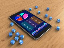 3d business data. 3d illustration of mobile phone over wooden background with binary cubes and Stock Image