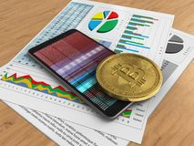 3d business papers. 3d illustration of mobile phone over wooden background with business papers and bitcoin Royalty Free Stock Photography