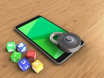 3d green. 3d illustration of mobile phone over wooden background with cubes and code lock Stock Photos