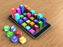 3d colorful icons. 3d illustration of mobile phone over wooden background with cubes and colorful icons Royalty Free Illustration