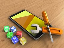 3d yellow. 3d illustration of mobile phone over wooden background with cubes and repair tools Royalty Free Stock Photography