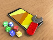 3d cubes. 3d illustration of mobile phone over wooden background with cubes and wrench Royalty Free Stock Images