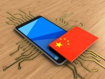 3d china flag. 3d illustration of mobile phone over wooden background with electronic circuit and china flag Royalty Free Stock Photo