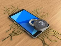 3d code lock. 3d illustration of mobile phone over wooden background with electronic circuit and code lock Royalty Free Stock Photos