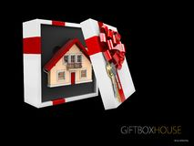 3d illustration of Model of a house in gift box with red ribbon, isolated black.  Stock Images