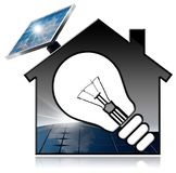 Model House with Solar Panel and Light Bulb. 3D illustration of a model house with a light bulb and a solar panel. Isolated on white background Royalty Free Stock Images