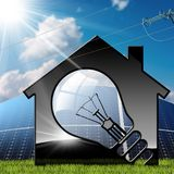 Model House with Solar Panels and Power Line. 3D illustration of a model house with a light bulb, solar panels and a power line. On a blue sky with clouds, sun Royalty Free Stock Photography