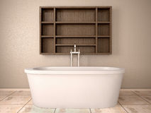 3d illustration of modern bathroom with. Wooden shelves Stock Photo