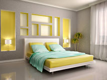 3d illustration of modern bedroom interior with yellow. Bed and n Stock Images