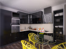 3d illustration of modern black kitchen Royalty Free Stock Image