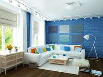 3D illustration of modern blue room. White sofa in large empty modern blue room with hardwood floor, large windows and white rug on floor Stock Photos