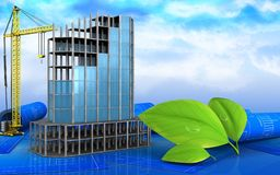 3d of modern building frame. 3d illustration of modern building frame with crane over sky background Stock Photography