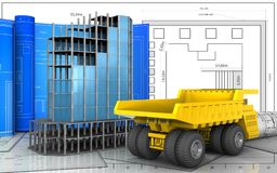 3d of heavy truck. 3d illustration of modern building frame with drawing roll over blueprint background Stock Images