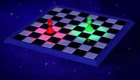 3D Illustration. Modern Chessboard with blue and green Stock Images
