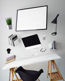 3D illustration of modern computer template, workspace mock up, Royalty Free Stock Photography