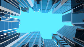 3D illustration of modern glass skyscrapers Royalty Free Stock Images