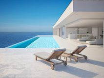 3D-Illustration. modern luxury summer villa with infinity pool royalty free stock image