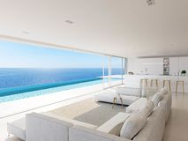 3D-Illustration. modern luxury summer villa with infinity pool royalty free stock images