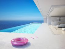 3D-Illustration. modern luxury summer villa with infinity pool stock images