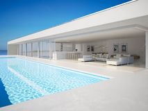 3D-Illustration. modern luxury summer villa with infinity pool royalty free stock photography