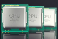 3d illustration modern multicore CPU on black background Stock Image