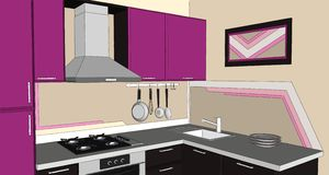 3D illustration of modern puprle and brown kitchen corner with fume hood, cooktop, sink and appliances Stock Images