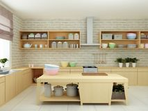 3D illustration of of modern sparse kitchen with hardwood details and bright crockery Royalty Free Stock Image