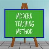 Modern Teaching Method concept. 3D illustration of MODERN TEACHING METHOD title on a tripod display board Stock Photography