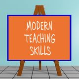 Modern Teaching Skills concept. 3D illustration of MODERN TEACHING SKILLS title on a tripod display board Stock Image