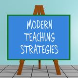 Modern Teaching Strategies concept. 3D illustration of MODERN TEACHING STRATEGIES title on a tripod display board Stock Image