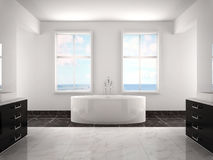 3d illustration of modern white luxury bathroom Stock Photos