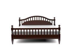 3d illustration of a modern wooden bed. 3d illustration of a modern elegant wooden bed Stock Photos