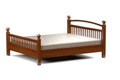 3d illustration of a modern wooden bed. 3d illustration of a modern elegant wooden bed Royalty Free Stock Images