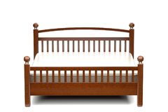 3d illustration of a modern wooden bed. 3d illustration of a modern elegant wooden bed Royalty Free Stock Image