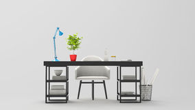3D illustration of modern work space - black table. White armchair, blue desk lamp Stock Photography