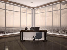 3d illustration of modern workplace in the office. With windows a Stock Photography