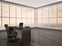 3d illustration of modern workplace in the office. With windows a Royalty Free Stock Photos