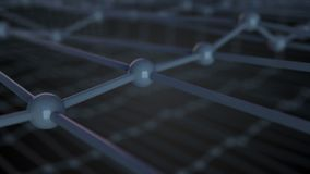 3d illustration of molecular grid, atoms connected in crystal lattice, close up view, 3d render royalty free illustration